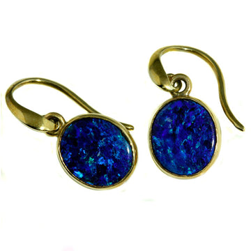 Fluorscent Blue Australian Opal Earrings