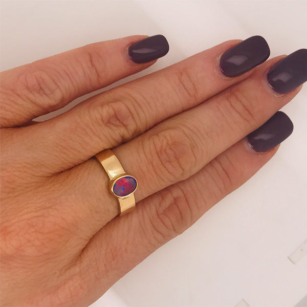 Australian Black Opal Ring - What Women Want Jewellers