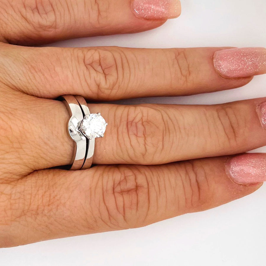 Platinum Wedding and Engagement Ring Set