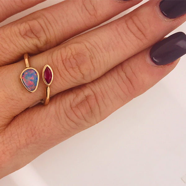 Australian Black Opal and Ruby Ring - What Women Want Jewellers