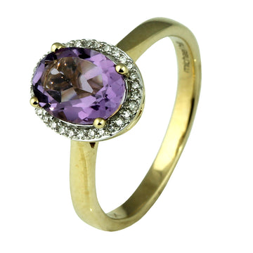 Oval Amethyst Diamond Cluster Ring - What Women Want Jewellers