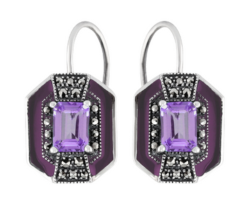 Amethyst marcasite sterling silver earrings - What Women Want Jewellers