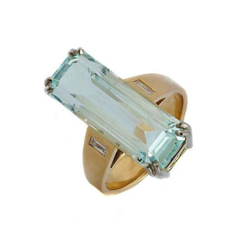 Aquamarine diamond gold ring - What Women Want Jewellers