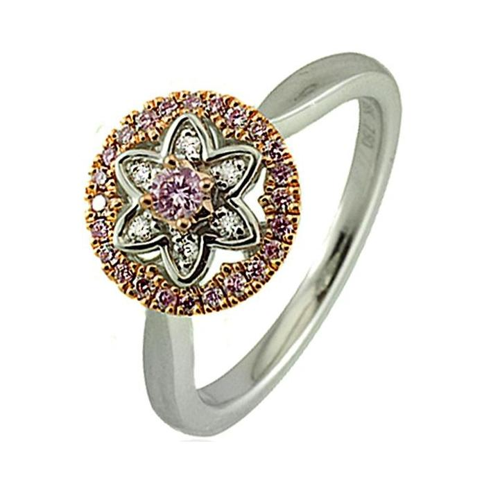 Argyle large circle pink diamond white gold ring - What Women Want Jewellers