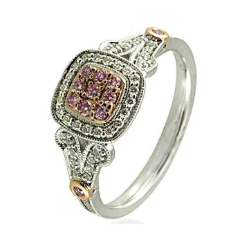 Argyle pink diamond white gold square ring - What Women Want Jewellers