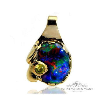 Black opal sapphire gold pendant - What Women Want Jewellers