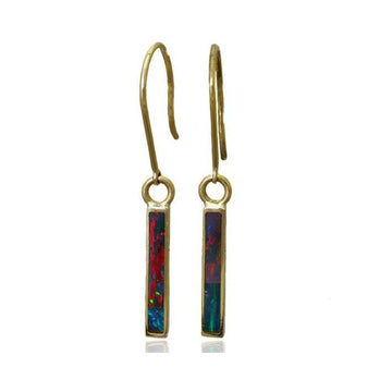 Blocks blue opal gold earrings - What Women Want Jewellers