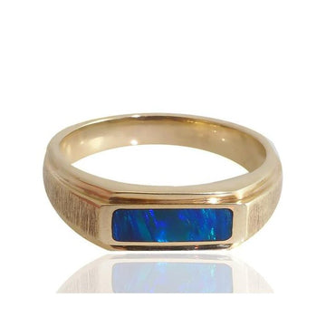 Blue and green opal gold men's ring - What Women Want Jewellers
