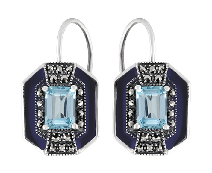 Blue topaz marcasite sterling silver earrings - What Women Want Jewellers