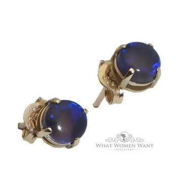 Circle blue opal gold earrings - What Women Want Jewellers