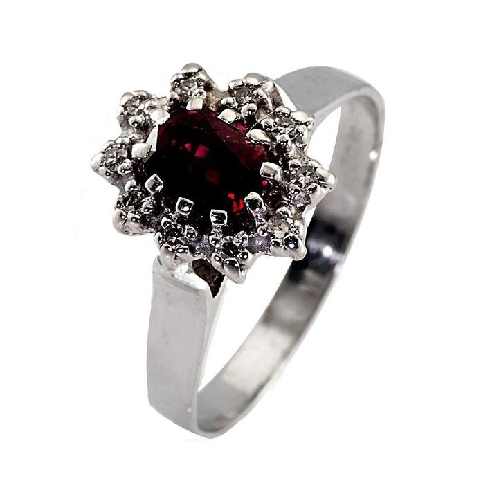 Cluster ruby diamond white gold engagement ring - What Women Want Jewellers