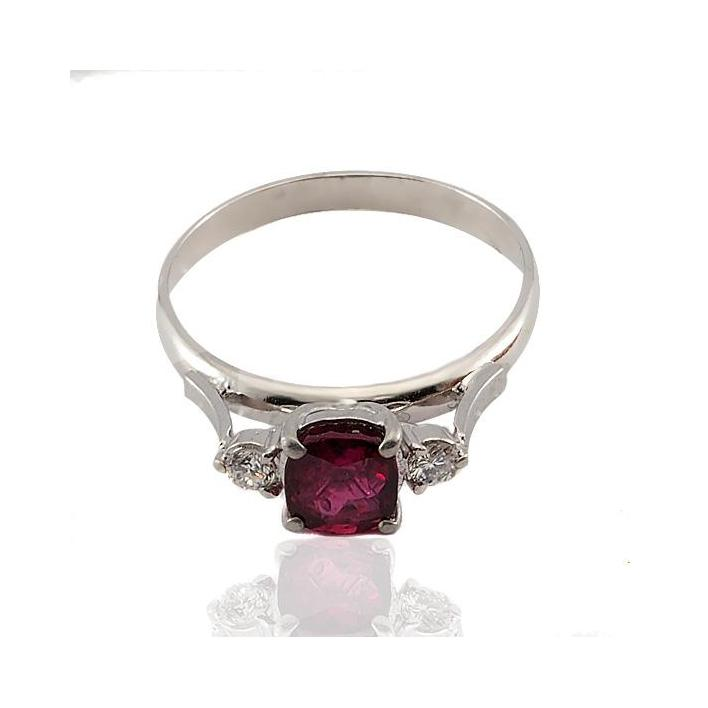 Cushion Burmese ruby diamond white gold engagement ring - What Women Want Jewellers