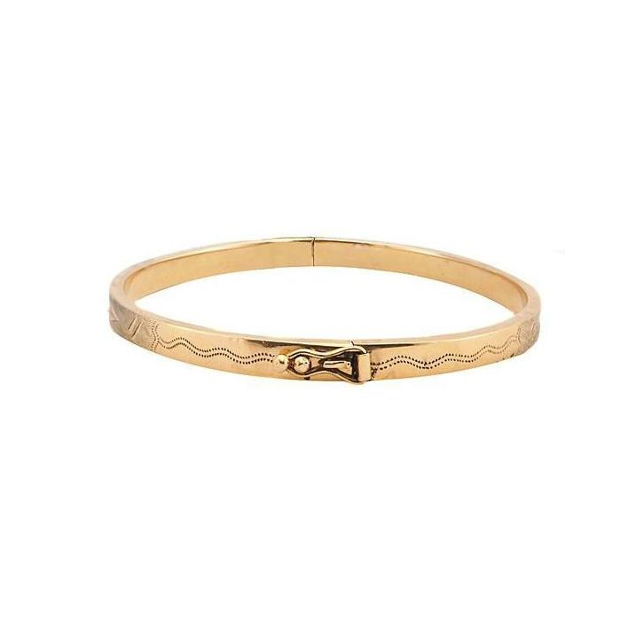 Engraved yellow gold bangle - What Women Want Jewellers