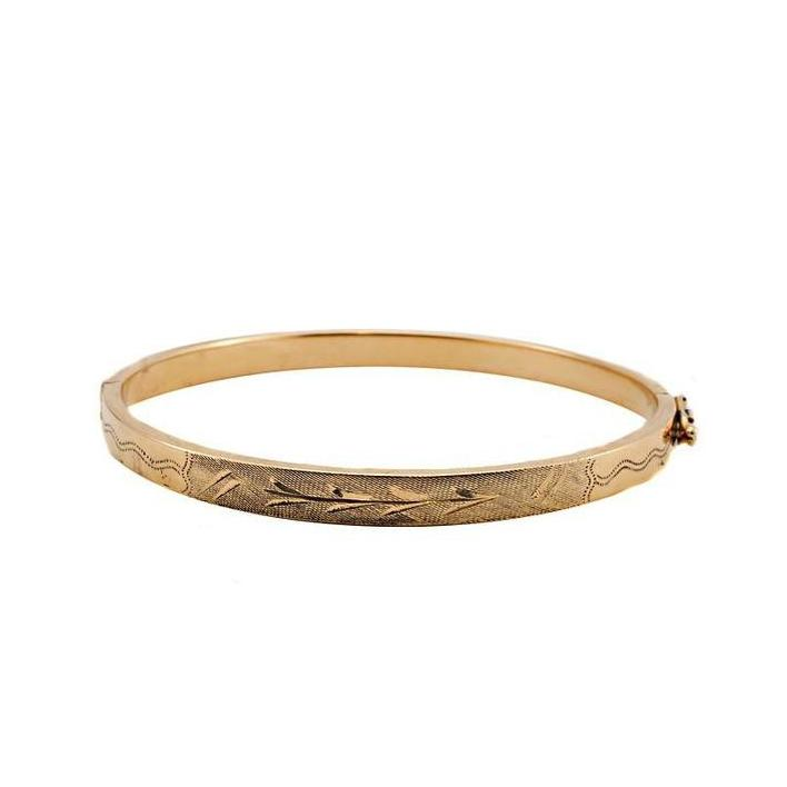 Engraved gold bangle - What Women Want Jewellers