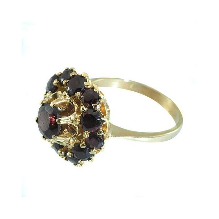 Garnet cluster gold ring - What Women Want Jewellers