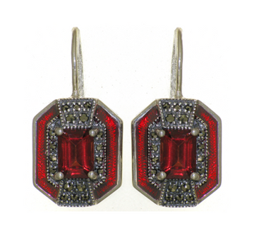 Garnet marcasite sterling silver earrings - What Women Want Jewellers