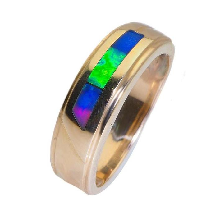 Green and red opal men's ring - What Women Want Jewellers