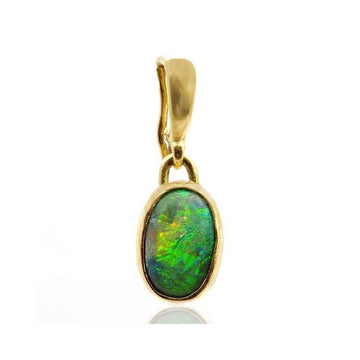 Green opal gold pendant - What Women Want Jewellers