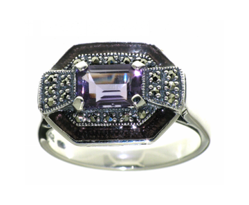Large amethyst marcasite silver ring - What Women Want Jewellers