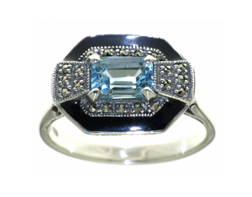 Large blue topaz marcasite silver ring - What Women Want Jewellers