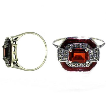 Large garnet marcasite silver ring - What Women Want Jewellers