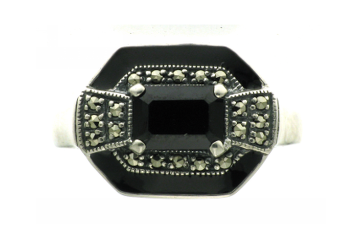 Large onyx marcasite silver ring - What Women Want Jewellers