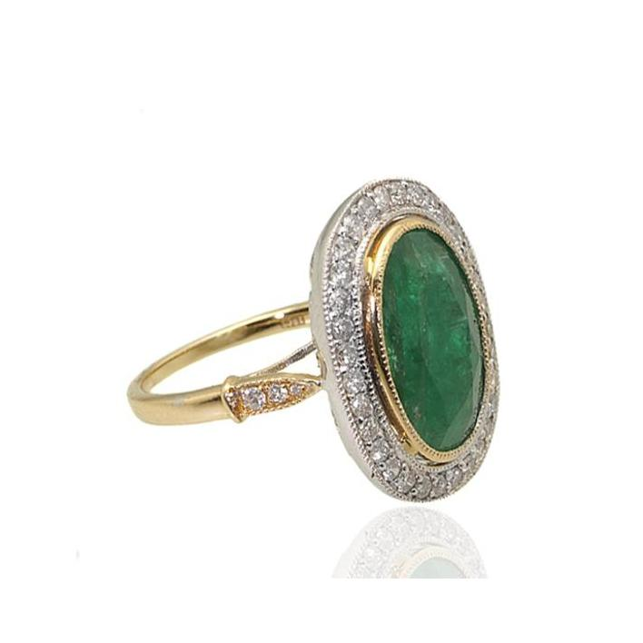 Large oval emerald diamond gold ring - What Women Want Jewellers