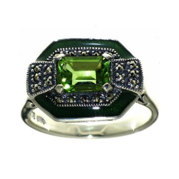 Large peridot marcasite silver ring - What Women Want Jewellers