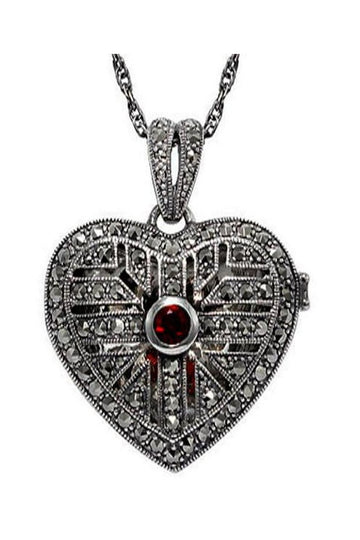 Marcasite garnet silver locket - What Women Want Jewellers