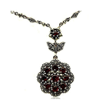 Marcasite garnet silver necklace - What Women Want Jewellers