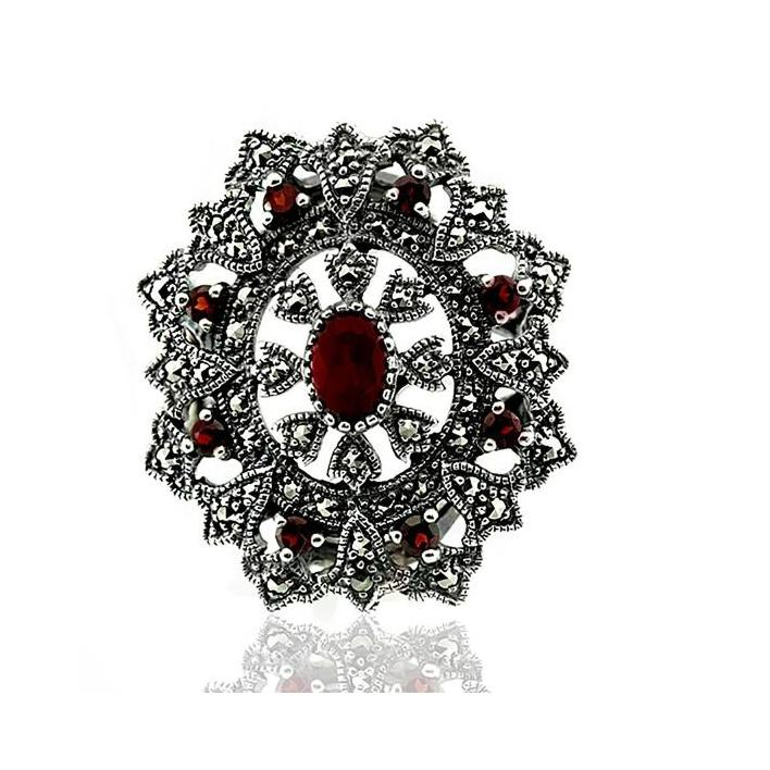 Marcasite garnet silver ring - What Women Want Jewellers