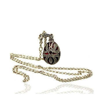 Marcasite red enamel silver pendant necklace - What Women Want Jewellers