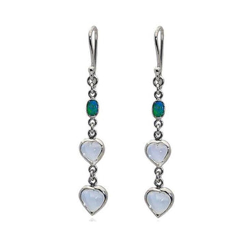 Moonstone opal white gold earrings - What Women Want Jewellers