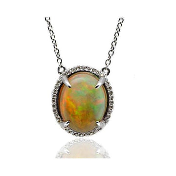 Opal diamond gold necklace - What Women Want Jewellers