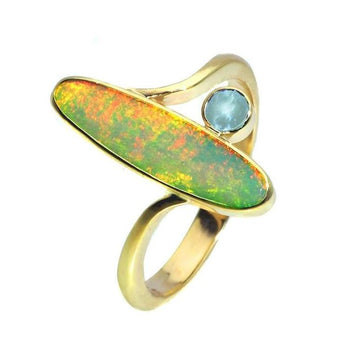 Opal topaz gold engagement ring - What Women Want Jewellers