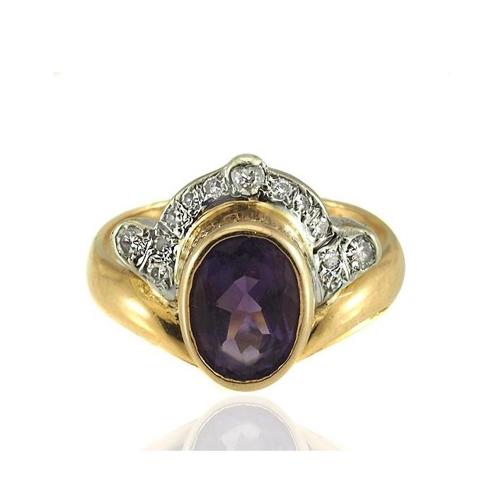 Oval amethyst diamond gold engagement ring - What Women Want Jewellers