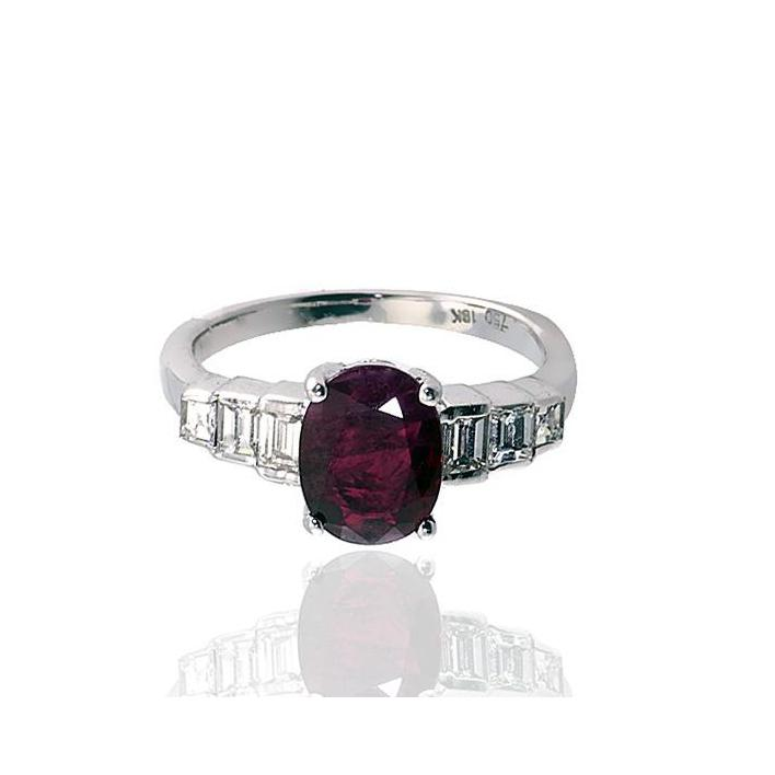 Oval Burmese ruby diamond white gold engagement ring - What Women Want Jewellers