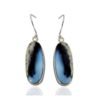 Oval dendritic opal silver earrings - What Women Want Jewellers