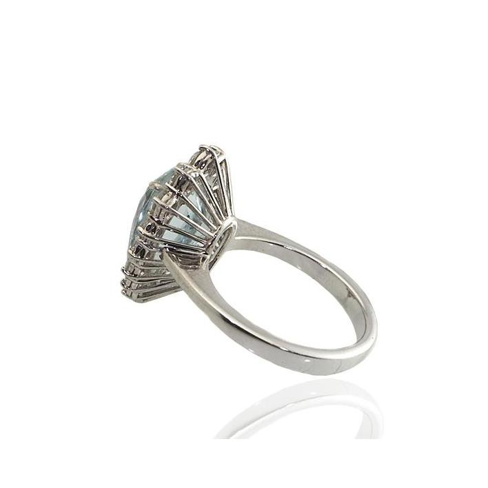 Pear shape aquamarine diamond white gold engagement ring - What Women Want Jewellers