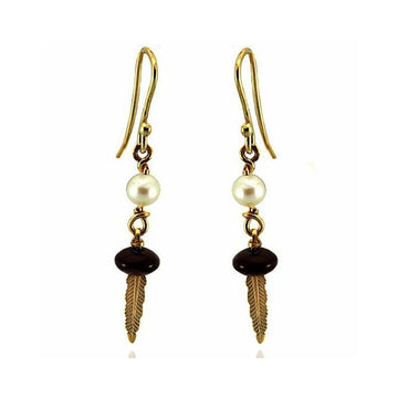 Pearl onyx gold earrings - What Women Want Jewellers