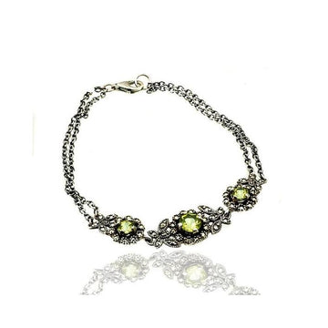 Peridot marcasite silver bracelet - What Women Want Jewellers