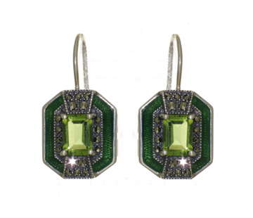 Peridot marcasite sterling silver earrings - What Women Want Jewellers