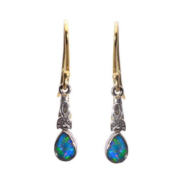 Round drops opal gold earrings - What Women Want Jewellers