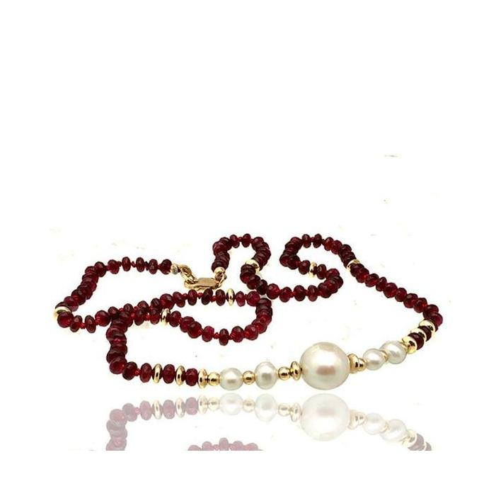 Ruby pearl gold necklace - What Women Want Jewellers