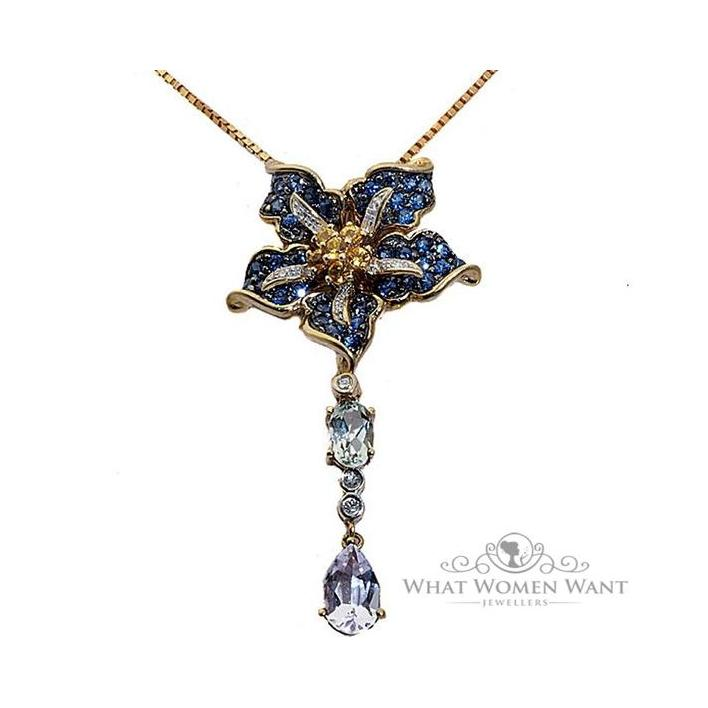 Sapphire diamond gold pendant - What Women Want Jewellers
