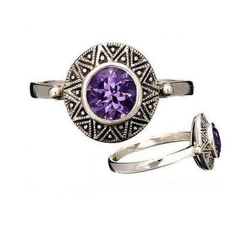 Small amethyst marcasite silver ring - What Women Want Jewellers