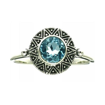 Small blue topaz marcasite silver ring - What Women Want Jewellers