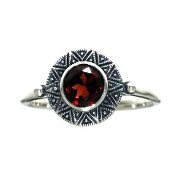 Small garnet marcasite silver ring - What Women Want Jewellers