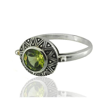 Small peridot marcasite silver ring - What Women Want Jewellers