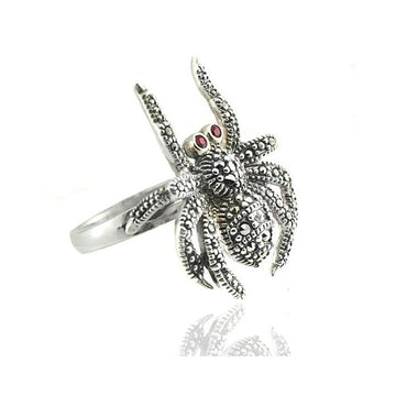 Spider marcasite garnet silver ring - What Women Want Jewellers